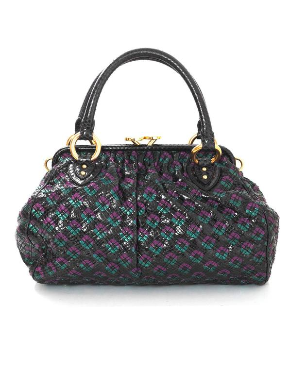 Marc Jacobs Python Woven Leather Stam Bag Features Optional Metal Resin Chain Link Shoulder