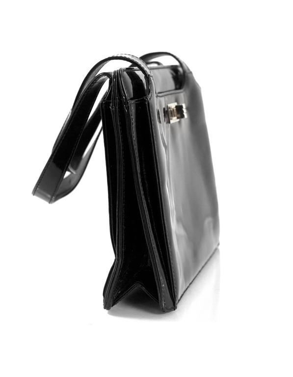 Chanel '90s Vintage Black Patent Leather Bag GHW 2