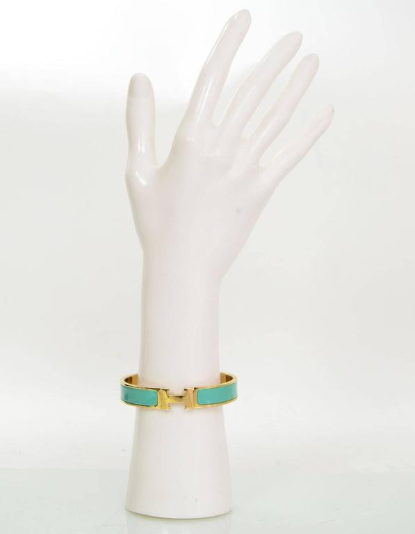 hermes turquoise and gold narrow h clic clac bangle. Black Bedroom Furniture Sets. Home Design Ideas