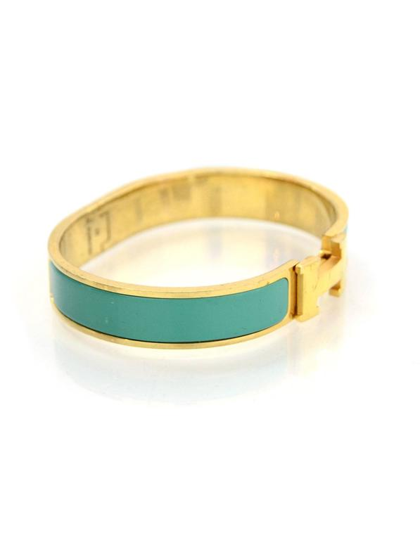 Hermes turquoise and gold narrow h clic clac bangle - Housse clic clac turquoise ...