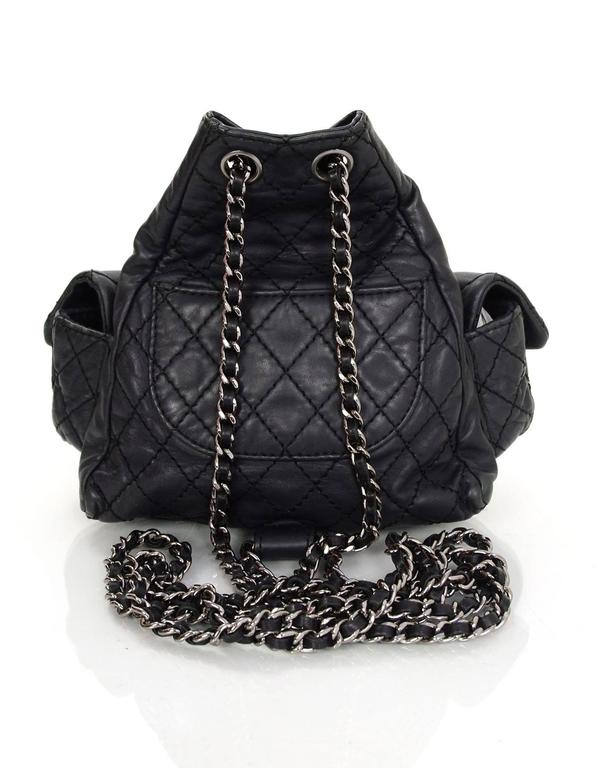 01794906f87dfe Chanel Black Leather Quilted Mini 'Backpack is Back' Bag In Excellent  Condition For Sale