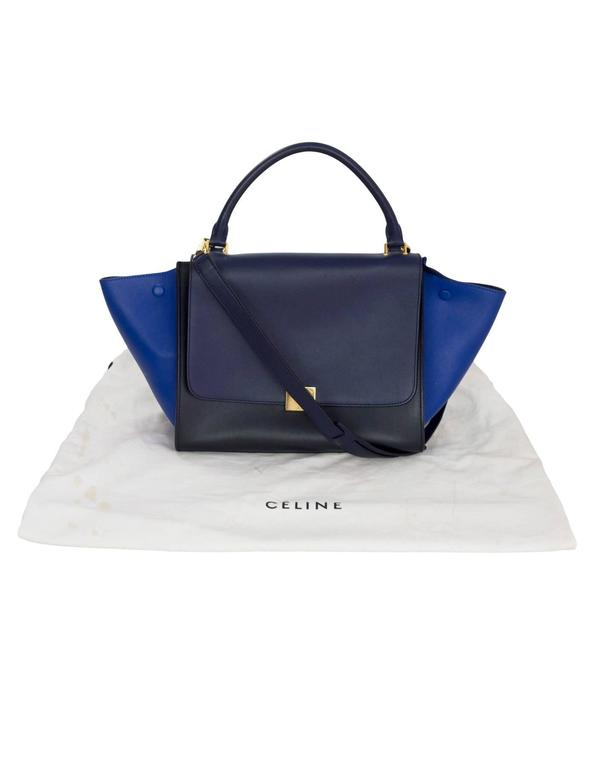 Celine Blue/Black/Navy Tri-Color Leather Medium Trapeze Bag w/ Strap 10