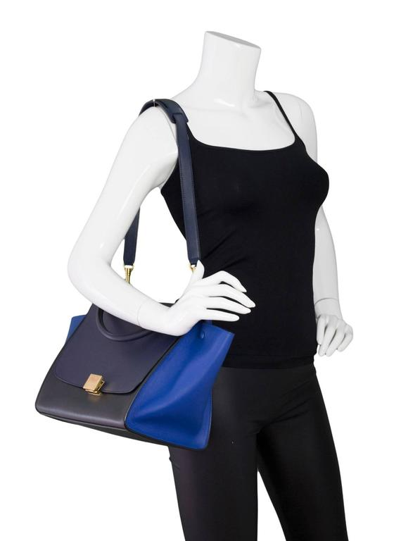 Celine Blue/Black/Navy Tri-Color Leather Medium Trapeze Bag w/ Strap 2