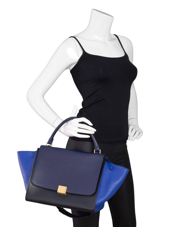 Celine Blue/Black/Navy Tri-Color Leather Medium Trapeze Bag w/ Strap 3