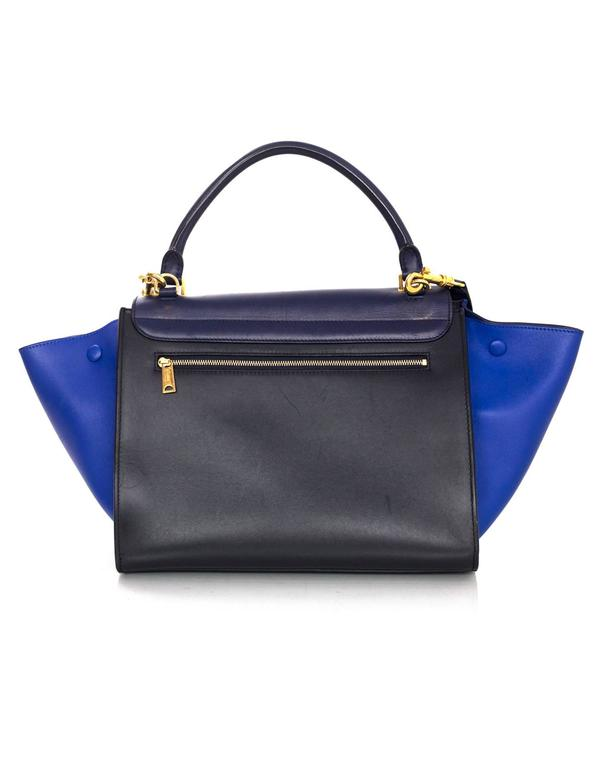 Celine Blue/Black/Navy Tri-Color Leather Medium Trapeze Bag w/ Strap 5