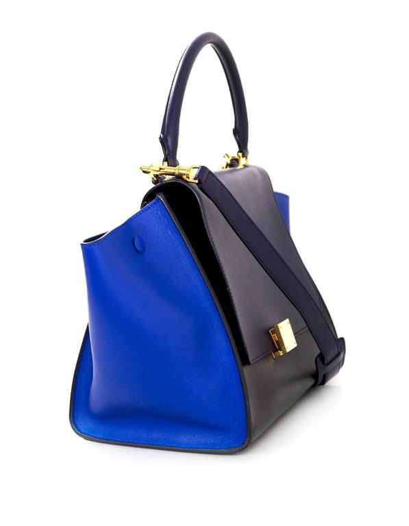 Celine Blue/Black/Navy Tri-Color Leather Medium Trapeze Bag w/ Strap 4