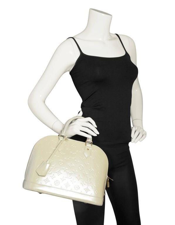 2aebae00bd2 Louis Vuitton Beige Vernis Patent Leather Monogram Alma PM Bag