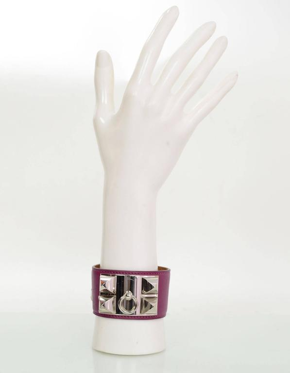 Hermes Tosca Leather Collier de Chien CDC Cuff Bracelet Sz L In Excellent Condition For Sale In New York, NY