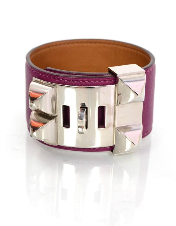Women's Hermes Tosca Leather Collier de Chien CDC Cuff Bracelet Sz L For Sale