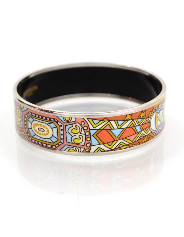hermes blue and orange wide enamel bangle bracelet sz 65