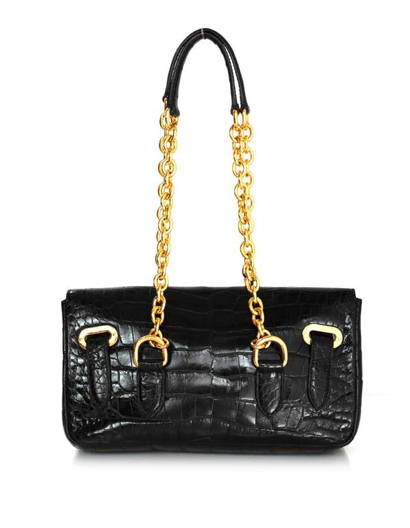 Ralph Lauren Black Alligator Ricky Shoulder Bag 4
