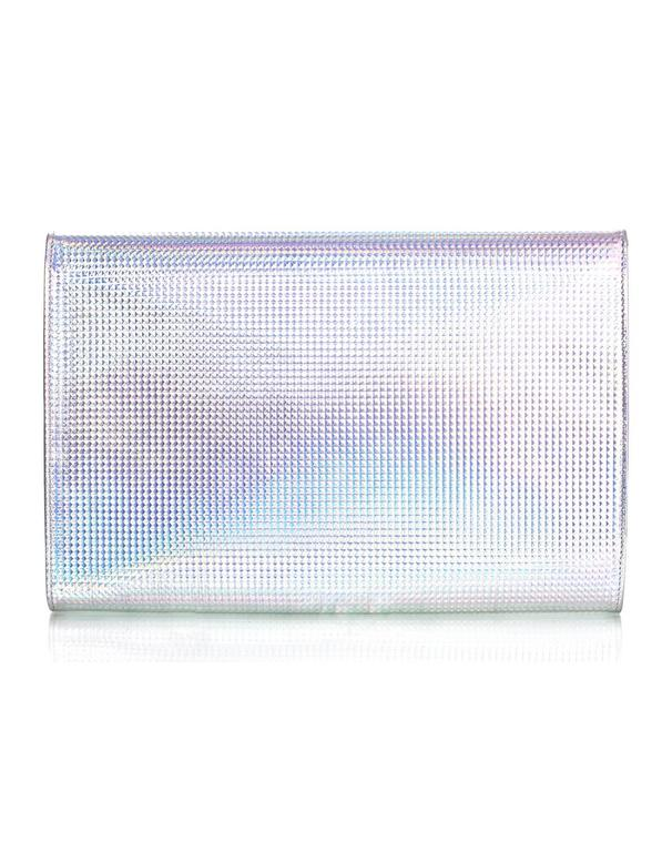 Chanel Silver Holographic Envelope Clutch Bag with Box 4