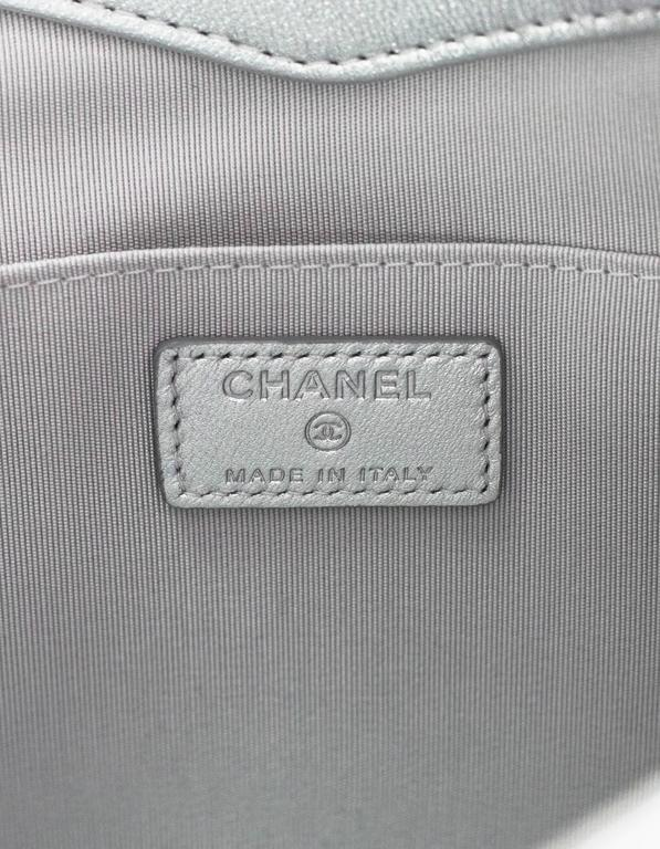 Chanel Silver Holographic Envelope Clutch Bag with Box 8