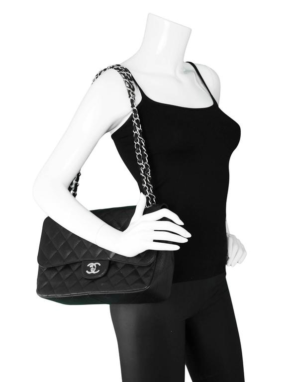 0ab07ba4fcf8 Chanel Black Quilted Caviar Jumbo Double Flap Bag with SHW Made In: Italy  Year of