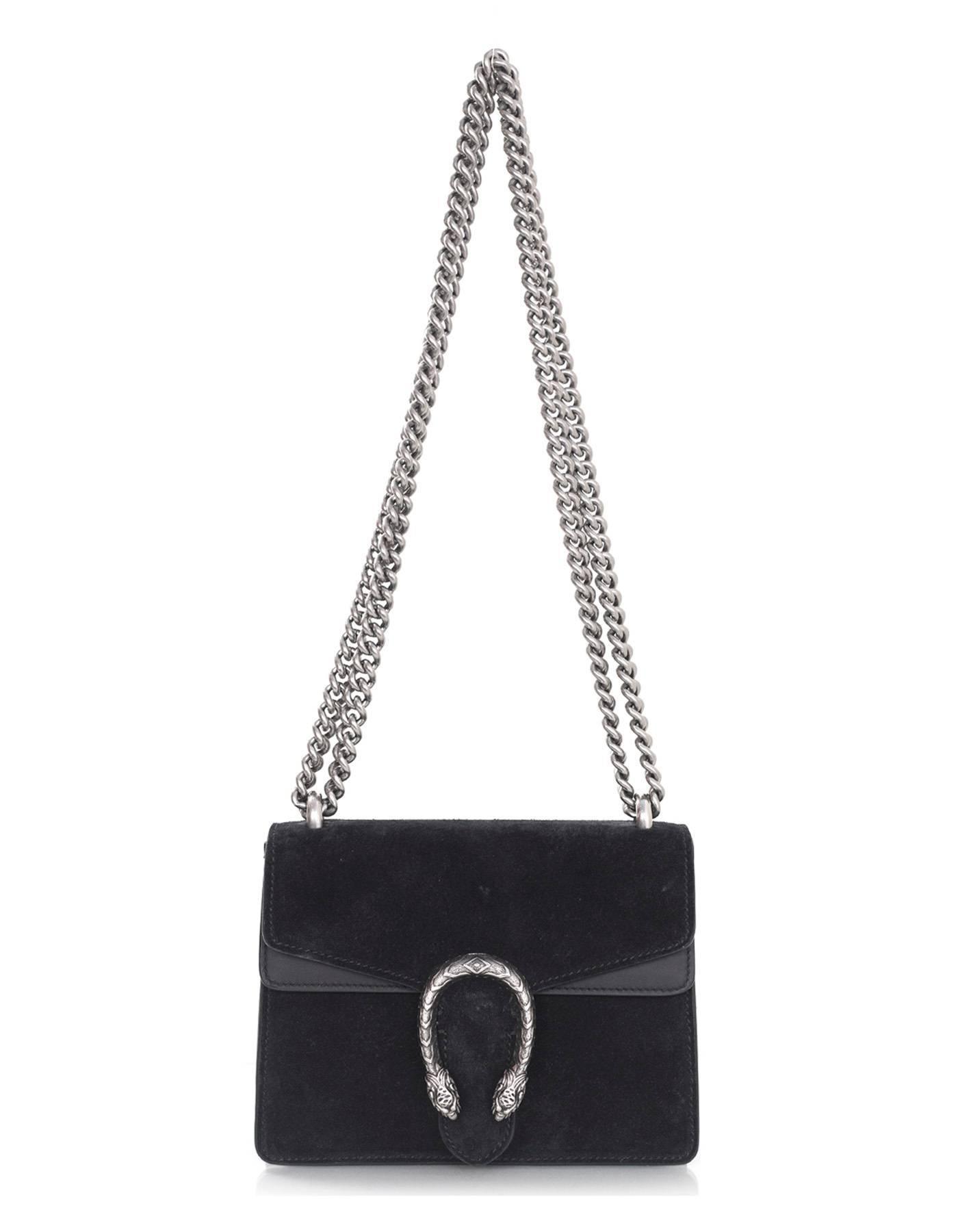 a5000e6ef69 Gucci Black Suede Dionysus Mini Flap Crossbody Bag For Sale at 1stdibs