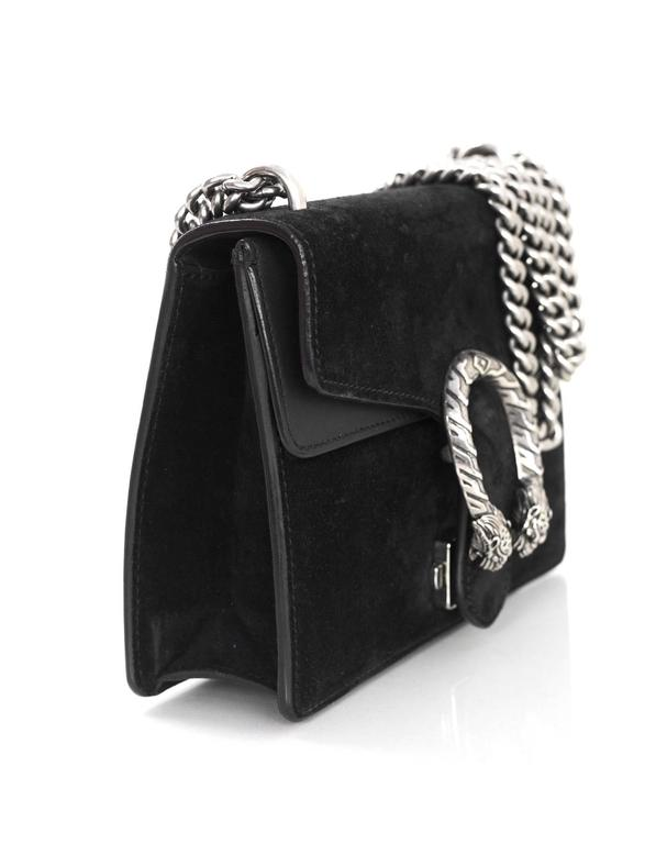 Gucci Black Suede Dionysus Mini Flap Crossbody Bag In Excellent Condition For New York