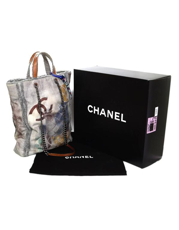 Chanel Collector's Sold Out Grey Canvas Printed Graffiti Tote Bag 9