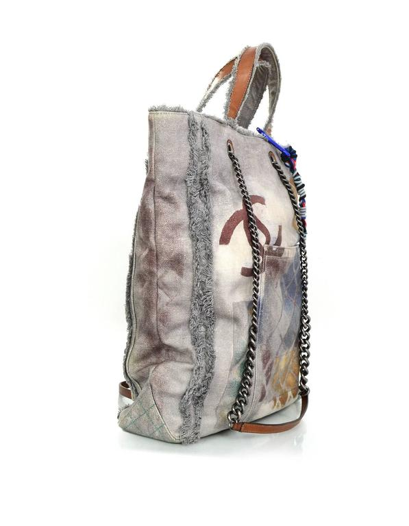 Chanel Collector's Sold Out Grey Canvas Printed Graffiti Tote Bag 2