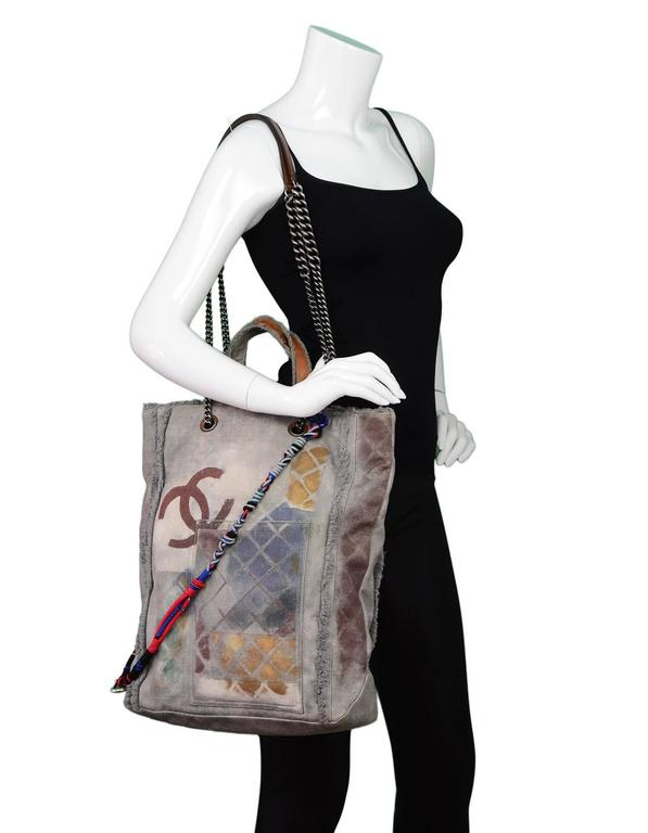 5465efe873366c Chanel Collector's Sold Out Grey Canvas Printed Graffiti Tote Bag For Sale 5