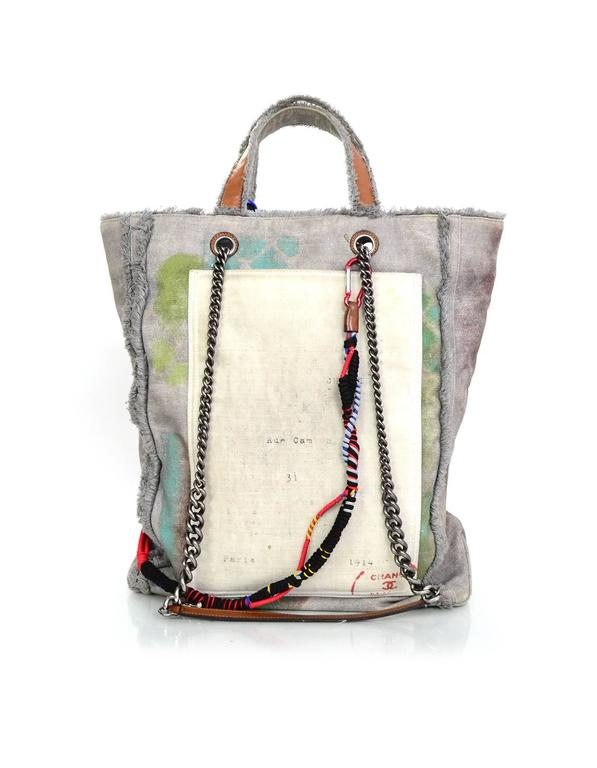 Chanel Collector's Sold Out Grey Canvas Printed Graffiti Tote Bag 3