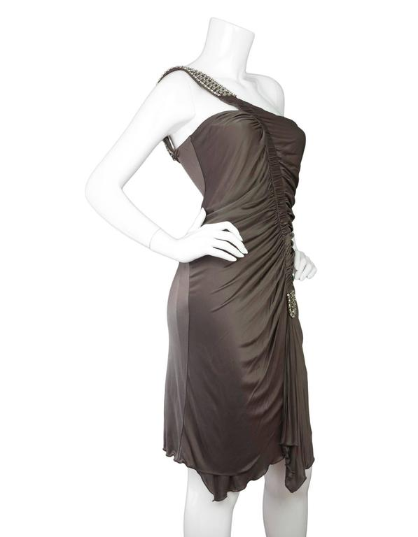 Roberto Cavalli Bronze Ruched One Shoulder Dress  In Excellent Condition For Sale In New York, NY