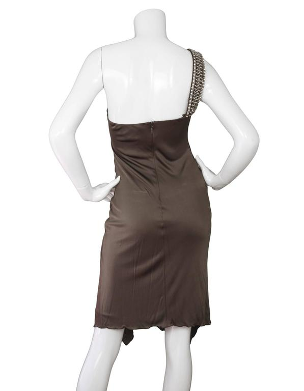 Roberto Cavalli Bronze Ruched One Shoulder Dress  3