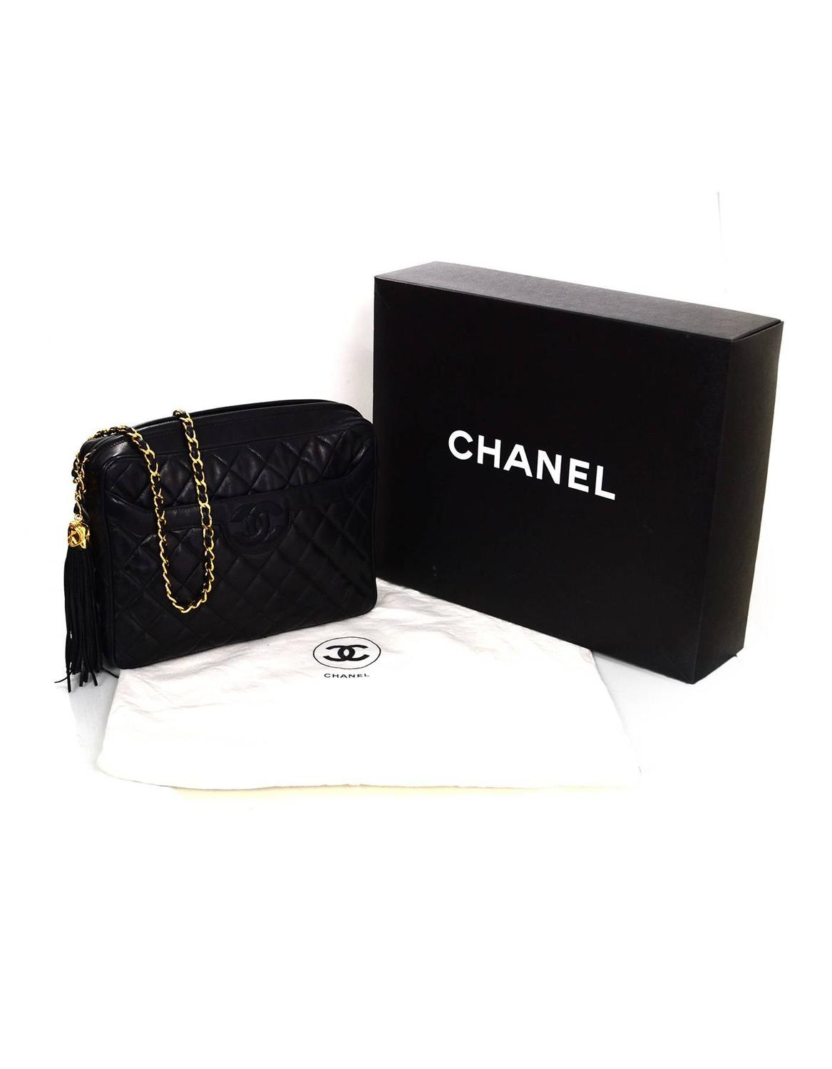 1f1023929849 Chanel Vintage Black Quilted Lambskin Camera Crosdbody Bag w/ Tassel For  Sale at 1stdibs