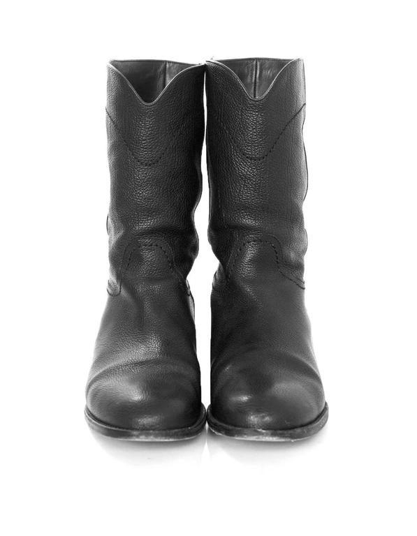 Chanel Black Leather Short Ascot Boots sz 42 4