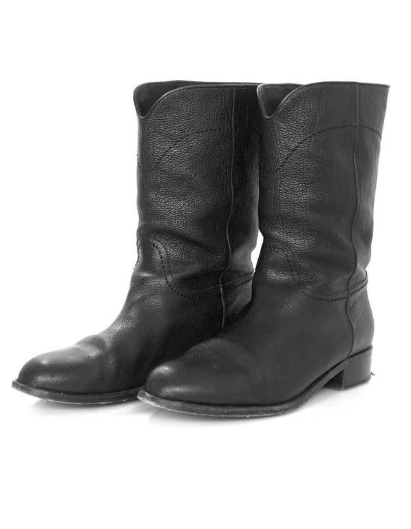 Chanel Black Leather Short Ascot Boots sz 42 In Excellent Condition For Sale In New York, NY