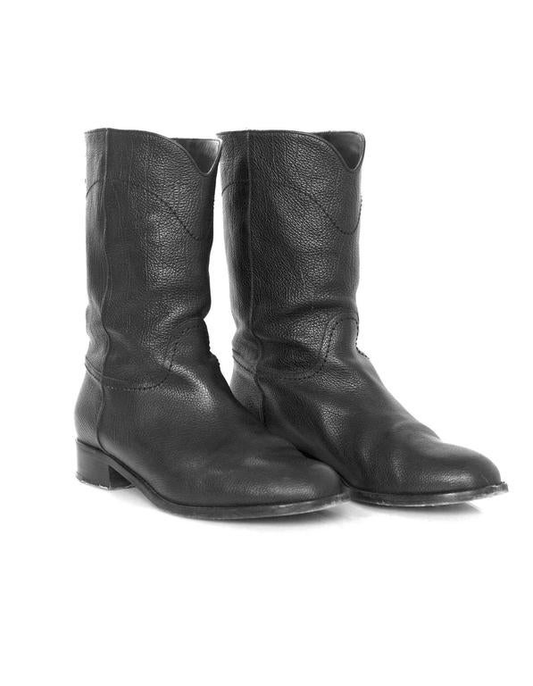 Chanel Black Leather Short Ascot Boots sz 42 For Sale 1