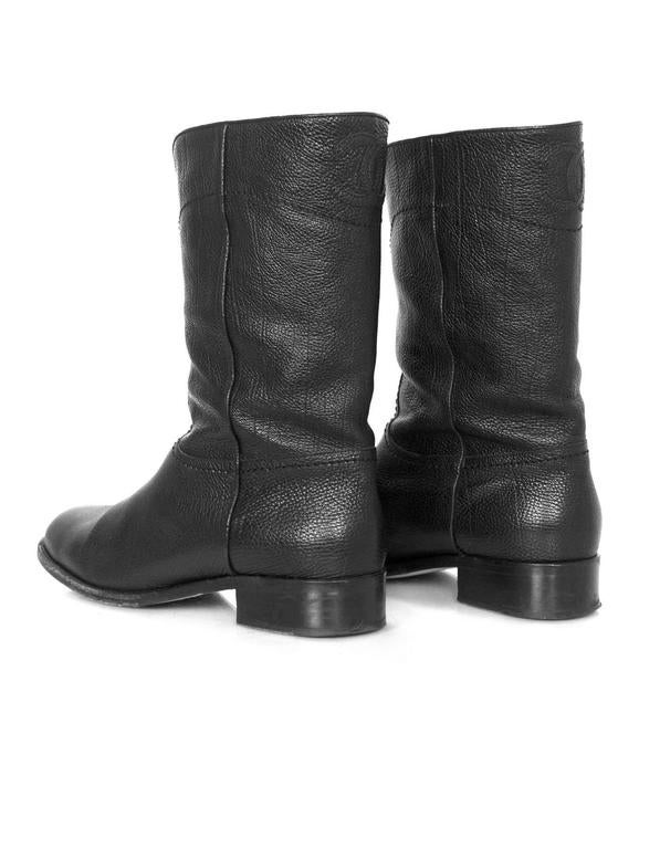 Chanel Black Leather Short Ascot Boots sz 42 For Sale 2