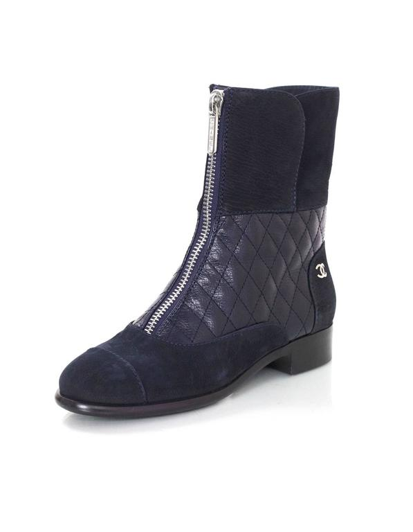 Chanel Navy Suede & Quilted Leather Zip Front Boots sz 37 2
