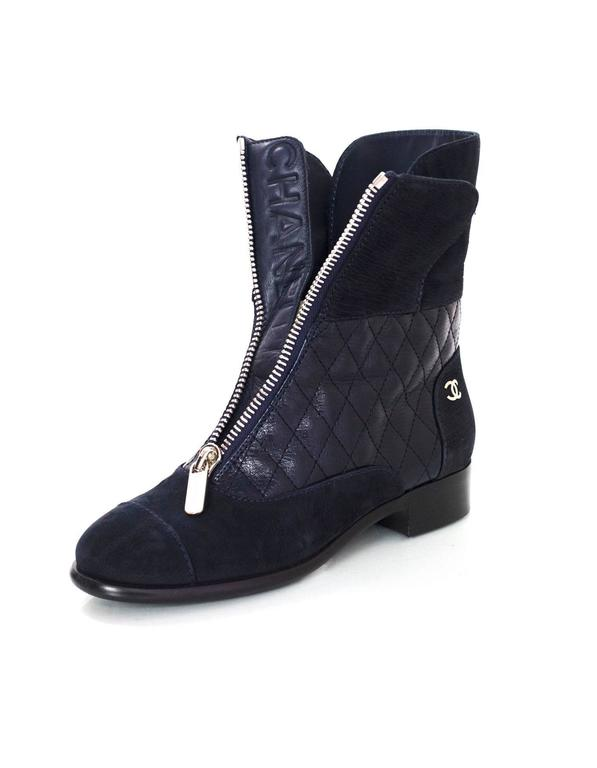 Chanel Navy Suede & Quilted Leather Zip Front Boots sz 37 3