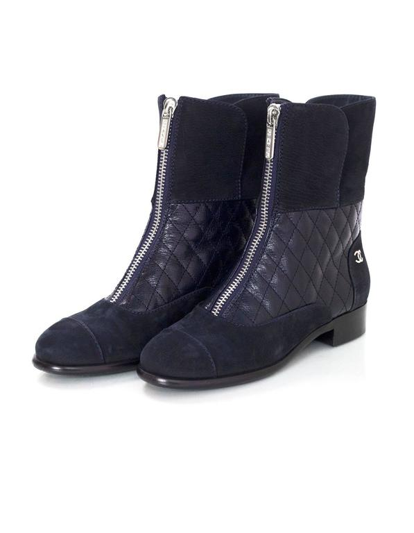 Chanel Navy Suede & Quilted Leather Zip Front Boots sz 37 4