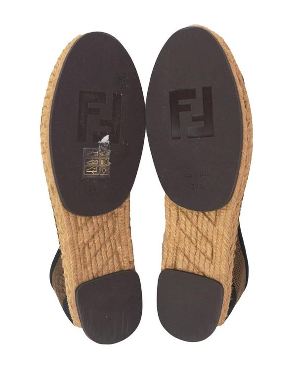 c1d5ff66e7c5 Fendi NEW Brown   Black Stripe Junia Espadrilles sz 37.5 rt.  450 For Sale 3