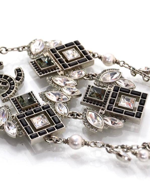 Chanel '15 A/W Runway Crystal & Faux Pearl Charm Necklace In Excellent Condition For Sale In New York, NY