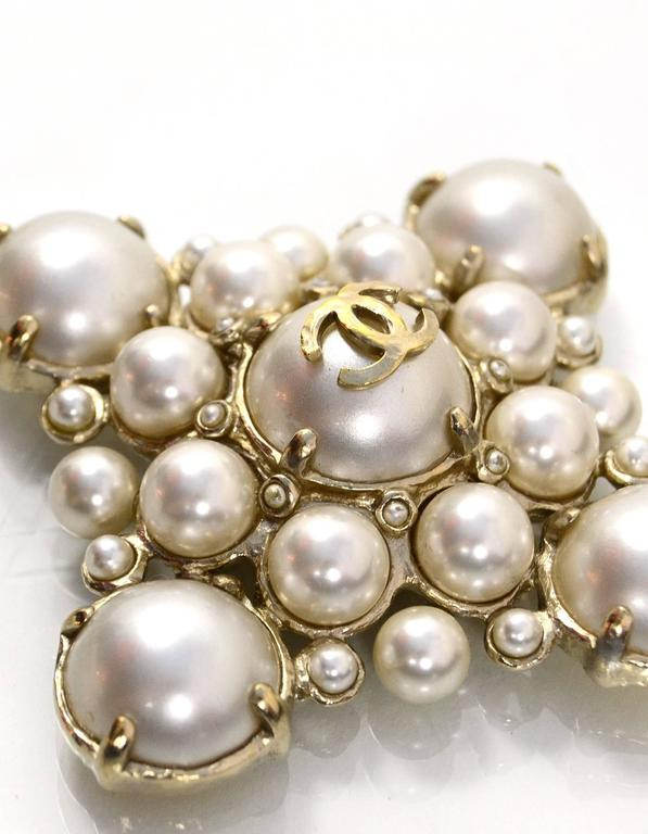 f40cdc8f2bad Chanel Pearl Large Medallion Necklace In Excellent Condition For Sale In  New York, NY