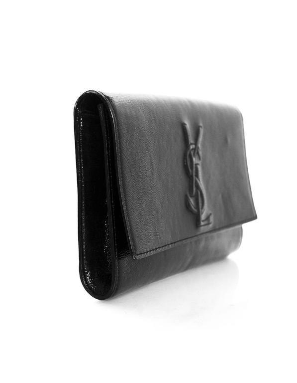 877dd7e9a550 Yves Saint Laurent Black Patent Leather Belle De Jour Clutch Bag In  Excellent Condition For Sale