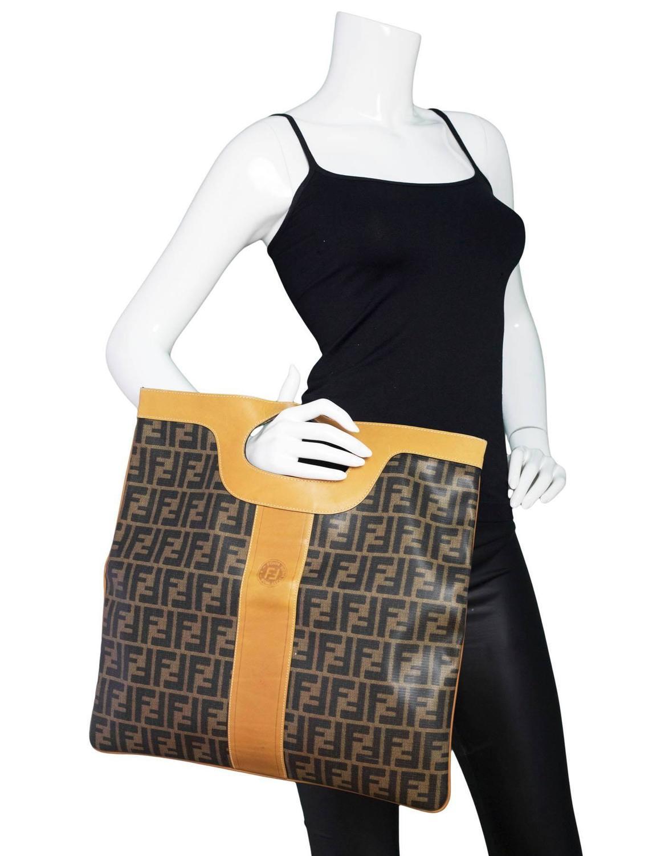 Fendi Vintage Foldover Zucca Tote Clutch Bag For Sale at 1stdibs