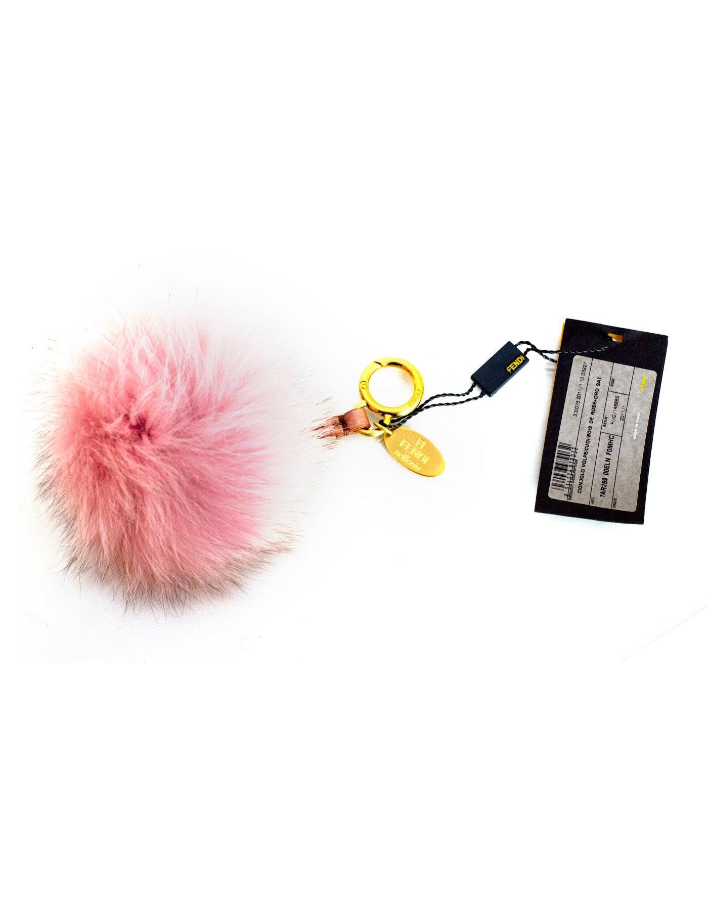 954208053f Fendi NEW Pink Fox Fur Selleria Pom Pom Bag Charm For Sale at 1stdibs