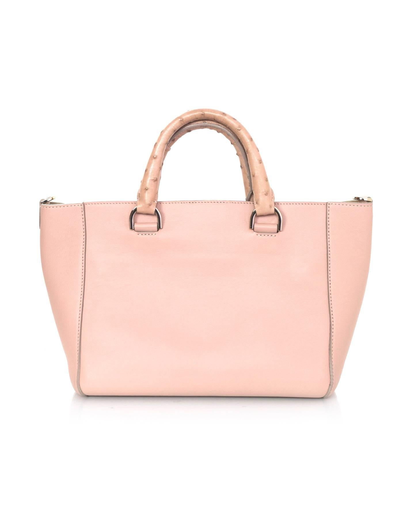 5f8d780de0 Mulberry Pink Leather and Ostrich Small Convertible Willow Tote Bag w/  Strap For Sale at 1stdibs