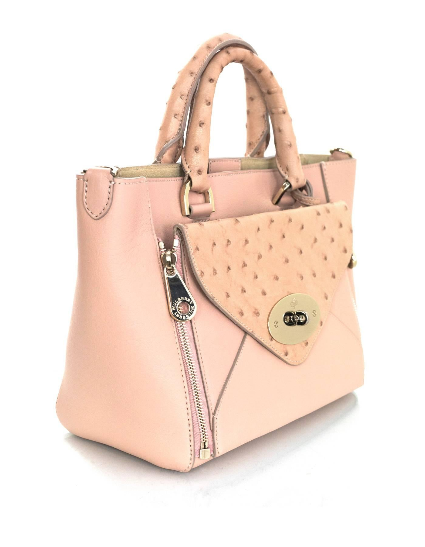 344b46a7c005 Mulberry Pink Leather and Ostrich Small Convertible Willow Tote Bag w/  Strap For Sale at 1stdibs
