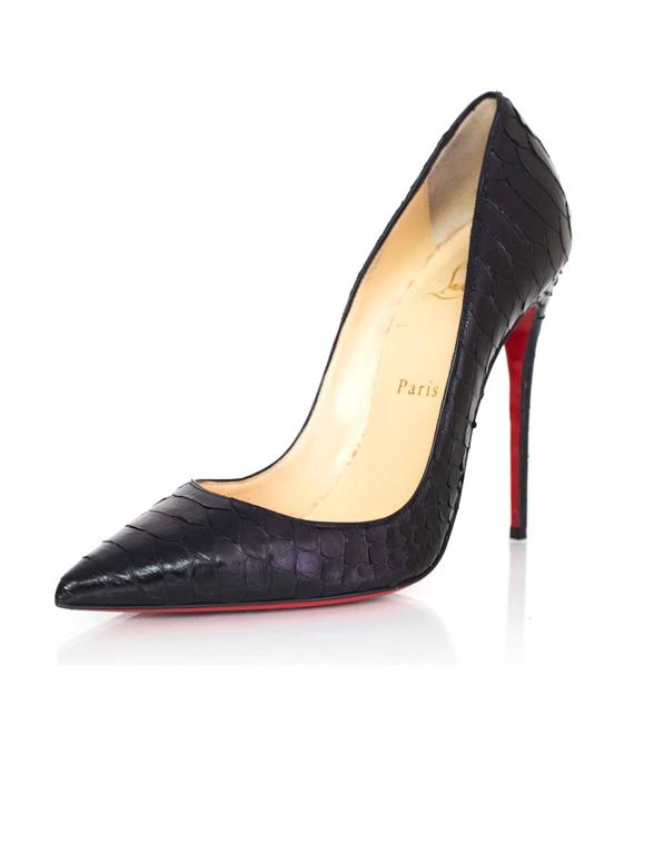 more photos cfdc2 14b74 Christian Louboutin Black Python So Kate Pumps Sz 37.5