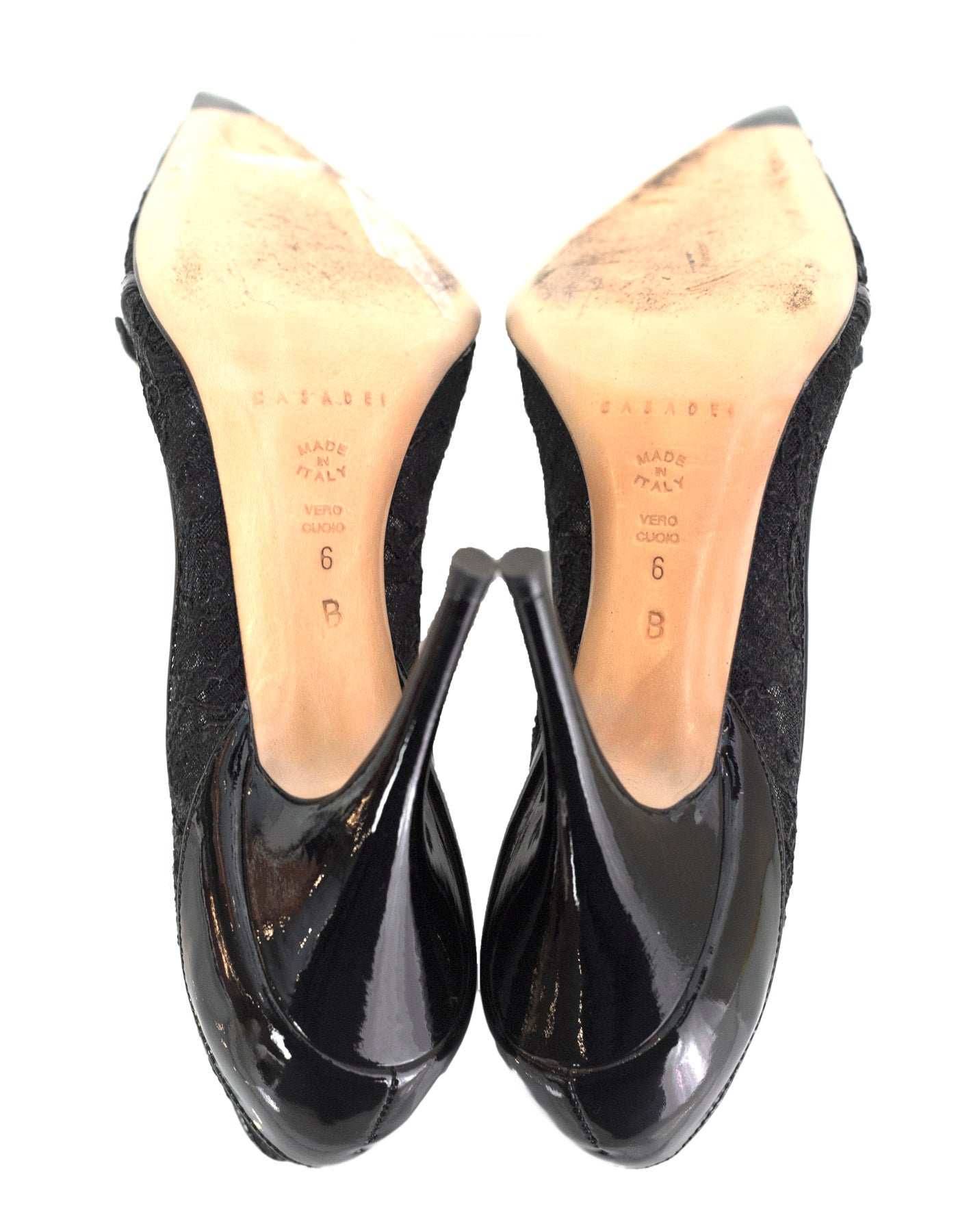 2ba8861a7 Casadei Black Lace Pumps Sz 6 For Sale at 1stdibs