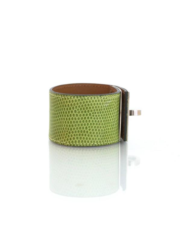 Hermes Green Lizard Kelly Dog Cuff Bracelet sz S In Excellent Condition For Sale In New York, NY