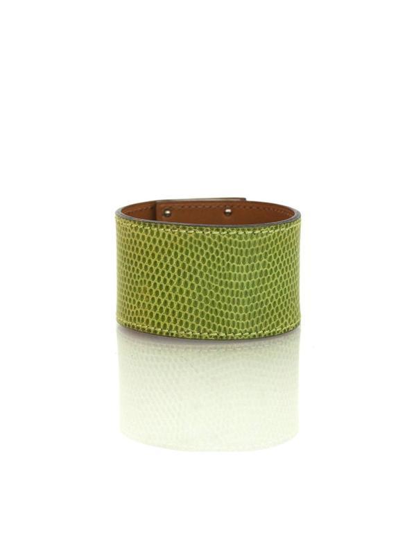 Women's Hermes Green Lizard Kelly Dog Cuff Bracelet sz S For Sale