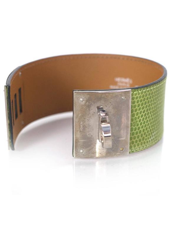 Hermes Green Lizard Kelly Dog Cuff Bracelet sz S For Sale 1