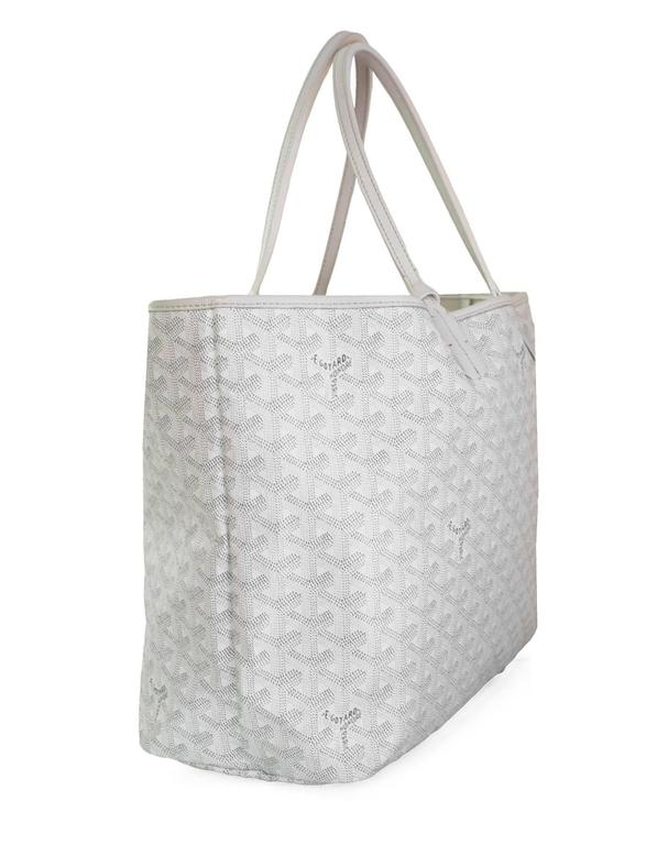 Goyard White St. Louis PM Chevron Tote  Made In: France Colors: White Hardware: Silvertone  Materials: Coated canvas, leather Lining: Cream textile Closure/Opening: Open top Exterior Pockets: None Interior Pockets: Small attached pochette Overall