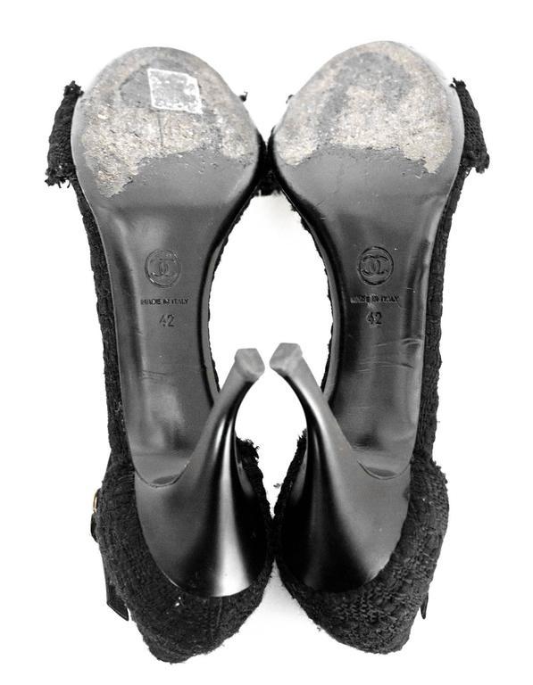 Chanel Black Boucle Sandals Sz 42 For Sale 3