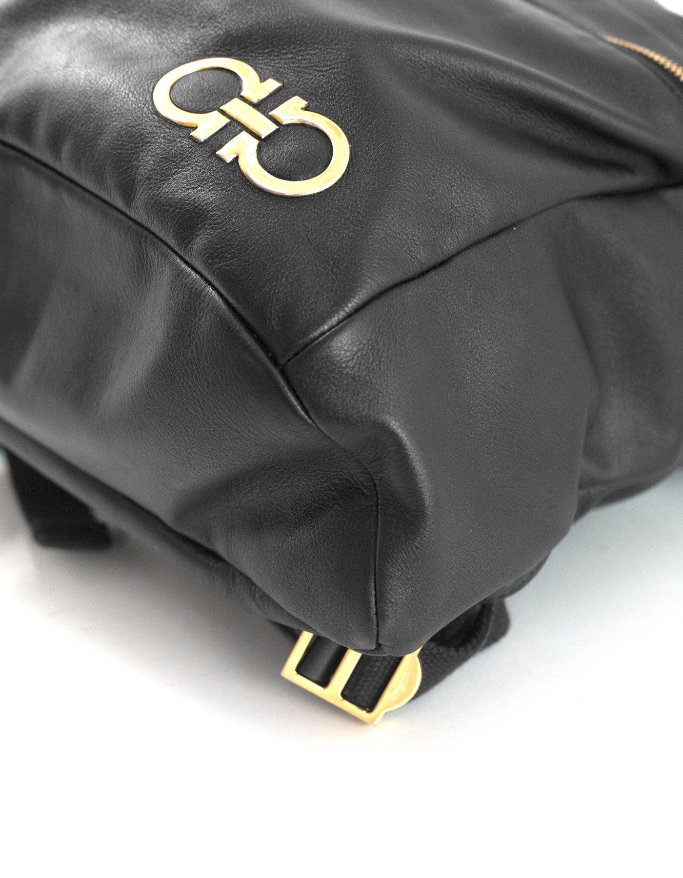 8687da6b7b88 Salvatore Ferragamo Black Nevada Gancini Leather Backpack Bag For Sale at  1stdibs